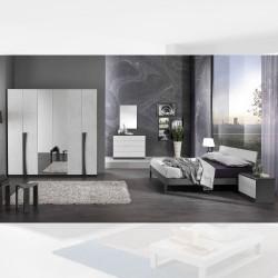 Camera da letto Kopet grigio cemento armadio con specchi