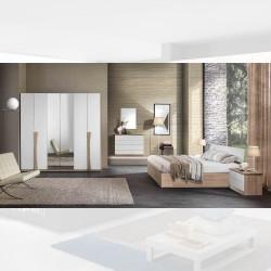 Camera da letto Kopet noce bianco letto contenitore armadio con specchi