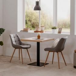 Tavolo alto Quadrato 75 cm piano rovere e base nera