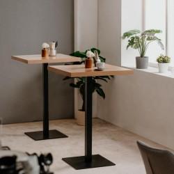 Tavolo alto Quadrato 105 cm piano rovere e base nera