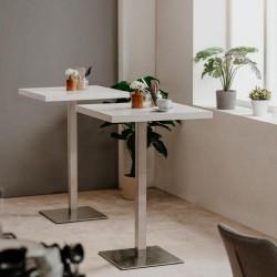 Tavolo alto Quadrato 105 cm piano bianco e base cromo