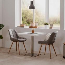 Tavolo alto Quadrato 75 cm piano bianco e base cromo