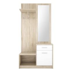 Mobile ingresso con specchio rovere sonoma bianco Nepo