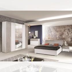 Camera da letto bianco larice cemento Maisa