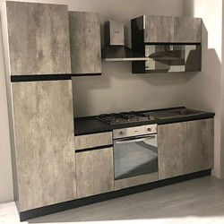 Cucina 255 x 240H Klondike cemento e antracite sinistra