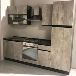 Cucina 255 x 240H Klondike cemento e antracite destra