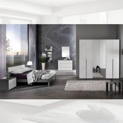 Camera da letto grigio cemento Manitoba armadio con specchi