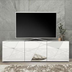 Porta TV bianco lucido 3 ante con specchi e serigrafie Hawaii