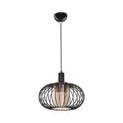 Lampada a sospensione con struttura in ferro e diffusore in vetro Terla MDL3674