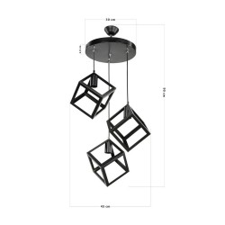 Lampada a sospensione 3 cubi nero Agatha MDL3790