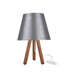 Lampada da tavolo treppiede legno e paralume grigio Pino ASZ1453