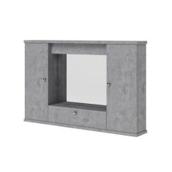 Specchiera mobile bagno pensile 2 ante e ribalta cemento