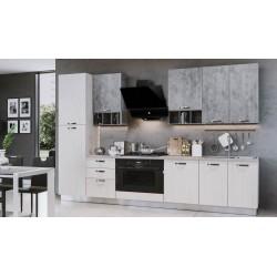Cucina Athena 360 cm con maxi forno lusso bianco perla cemento
