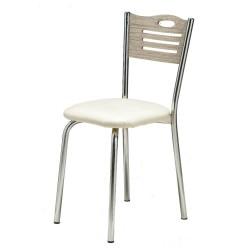 Sedia olmo con struttura in metallo cromato Karya