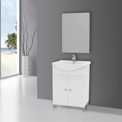 Mobile bagno bianco lucido con specchio Scanno 65