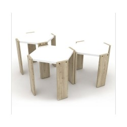 Tavolino da caffè impilabile Nido Hansel rovere bianco