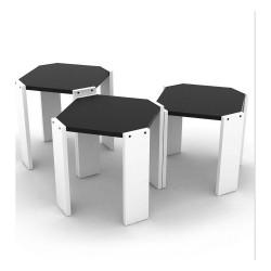 Tavolino da caffè impilabile Nido Hansel bianco nero