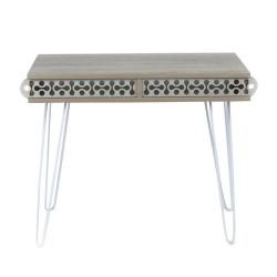 Scrivania piedi in metallo bianco e piano rovere Ilia 96x51x75H MT190642