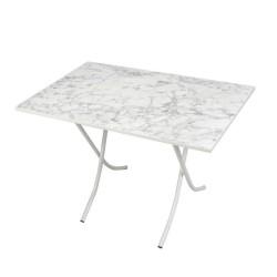 Tavolo pieghevole 60x90 marmo bianco e gambe bianco 10151