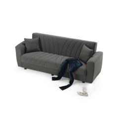 Divano letto contenitore grigio Murphy