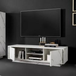 Porta TV 2 ante effetto marmo bianco Rock 139x43x44h
