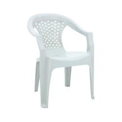 Sedia con braccioli da esterno in polipropilene monoblocco bianca Tusem