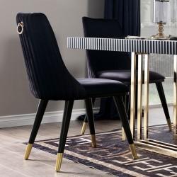 Sedia velluto nero con particolari oro Simphony