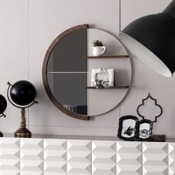 Specchiera rotonda con mensole legno naturale Diana